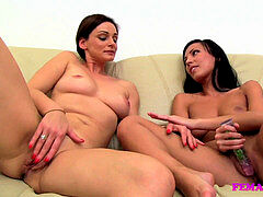 FemaleAgent MILF jerks with fortunate dolls on the couch