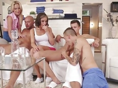 Open-minded group sex hunks pounding honey pot and furthermore tush