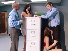 Hot ladies are doing some sexy banging in the office