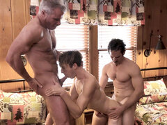 Cute gay stepson coed involved in a family 3some sex