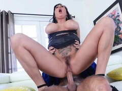 Pornstar is roughly nailed in trimmed pussy by a handsome man