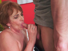 Sinful granny with large hooters gets nailed by a handsome stud