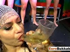 European whore gets pussy and plus throat abused during bukkake sex party