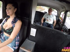 Awesome fake driver fucks a big-boobed brunette Kira Queen