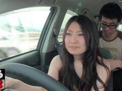 Naked asian girl drives her new car