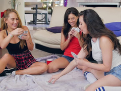 Strip poker with buddies turns into a hot lesbian three-way