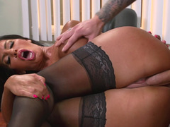 A raven haired broad is getting a huge fuck pole inside her mouth to give blowjob on