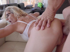 Awesome sex action of Mom i`d like to fuck with glasses and her strong buddy