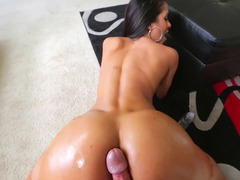 A brunette that has first-class big tits is pulling a sizeable erection