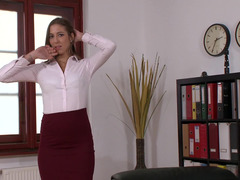 Brunette is getting fucked really hard by her boss in the office