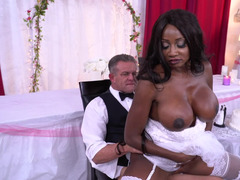 Man and black bride with huge boobs can't wait for wedding night