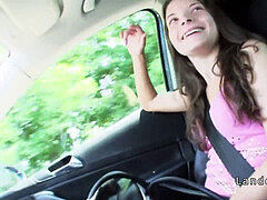 Hungarian teen hitchhiker pulverizing outdoor