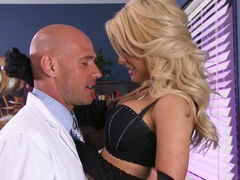 Beautiful, blonde lady likes her doctor