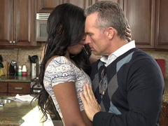 Teen Ebony wants to suck white cock of mature man