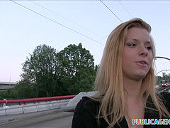 PublicAgent super-boinking-hot blondie wants stranger to fuck her outside