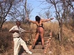Huge tooshie sex slave from Africa gets spanked and also toyed by her