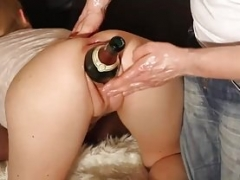 Double handballing his slut girlfriends sizeable gaping pussy