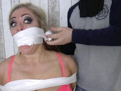 Full-Breasted Blond Hair Babe Bound N Gagged - mickey o'brien
