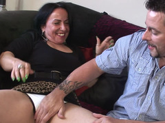 Old brunette bitch is ready to get her tight pussy rammed by a stud