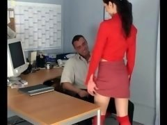 Tiny secretary getting down and dirty in knee high stockings