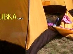 18yo teenager Loly masturbating in a tent