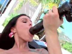 Wicked floozy Sea has an intercourse her shaved tight pussy with a huge toy