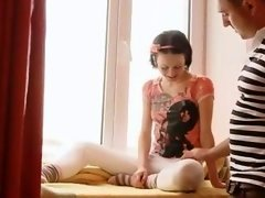 Submissive babysitter giving head