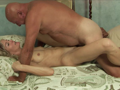 Adorable blonde floozy wants to get fucked by a actually aroused grandpa