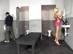 Sabrina Rose Uses The Men's Room To Get A Hot Ramrod To Give oral sex And moreover Get down and dirty