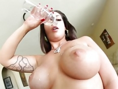 Tattooed eager mom tittyfucks big cock