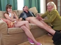 Granny Convinces Shy Teenage To Give blowjob Mature Cock