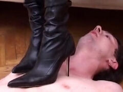 Smoking femdom spanking & ballbusting two foot slaves