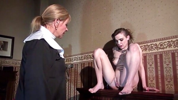 Amoral girl with small titties straponed by the nun