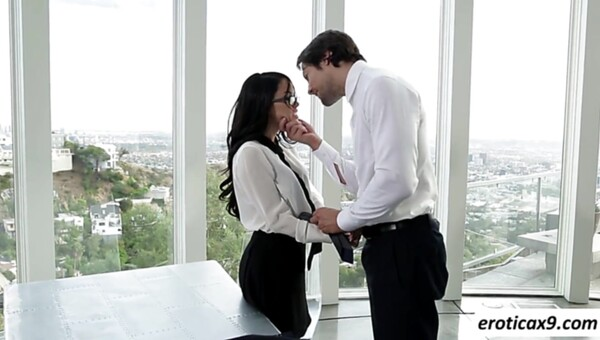 Naughty secretary Megan Rain seduces her boss and rides his cock