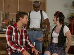 Punk chick Severin Graves threesome during woodshop class