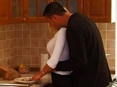 Breasty blond legal teen gets a kitchen get down and dirty