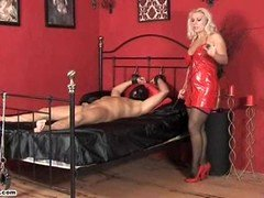 Aroused Mistress Lana rides love pole and besides forces dependent to cum
