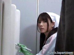 Asiatic bathroom attendant is in the mens part2