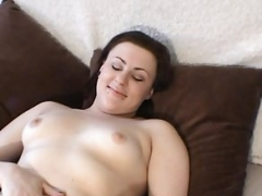 Slightly fat Chick with Furry Chubby Oozy Pussy Vibrates Her Love button