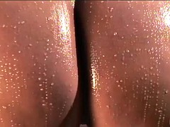 wet caramel booty bouncing on a black shaft!