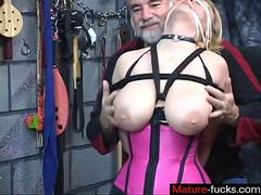 Big tits blonde tied up in lingerie and caned