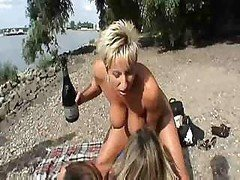 Three German Wives Have Fun On The Beach