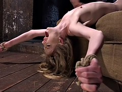 tied up and gagged dolly leigh gets fingered & toyed by her master