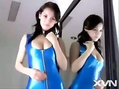 Maria Ozawa In Blue Latex Dress