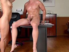 pounding delicious blanche bradburry on a desk making her scream