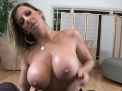 Busty Eager mom wanks POV penis with her tits