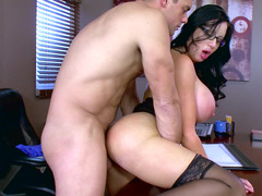 Xxxxxl-size lady blows and rides love tool of her horny boss