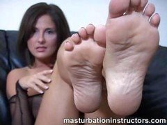 Masturbate instructor shows off her feet for teasing ramrods