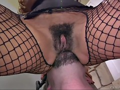 slave boy gets fed with hairy cunt of mature latina mistress ariella ferrera