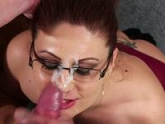 Ginger secretary gives head before facial